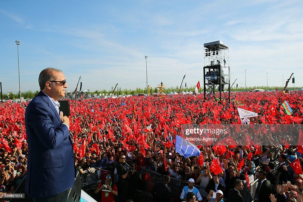 Turkish President Recep Tayyip Erdogan (C) and his wife Emine Erdogan (not seen) attend the celebrations of the 563rd anniversary of Istanbuls conquest by Turks at Yenikapi Event Area in Istanbul, Turkey on May 29, 2016. On May 29, 1453, Ottoman Sultan Mehmed II (Mehmet the Conqueror) conquered Istanbul, then called Constantinople, from where the Byzantines had ruled the Eastern Roman Empire for more than 1,000 years. The conquest transformed the city, once the heart of the Byzantine realm, into the capital of the new Ottoman Empire.