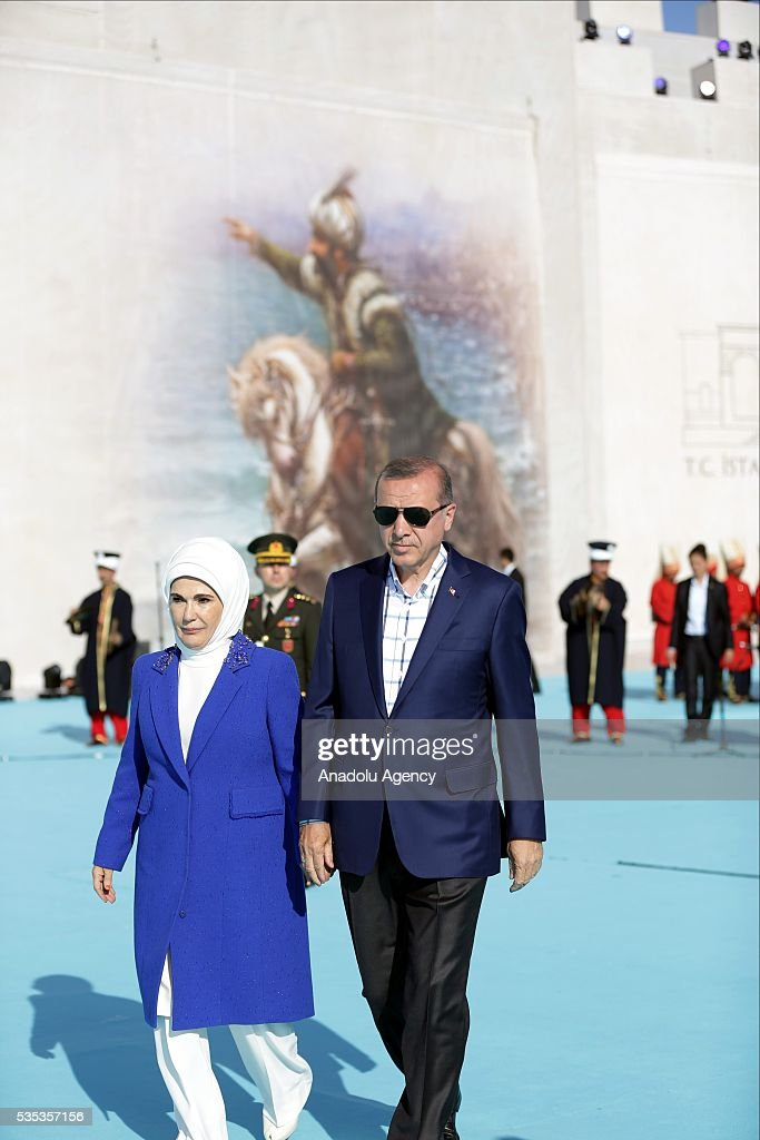 Turkish President Recep Tayyip Erdogan (R) and his wife Emine Erdogan (L) attend the celebrations of the 563rd anniversary of Istanbuls conquest by Turks at Yenikapi Event Area in Istanbul, Turkey on May 29, 2016. On May 29, 1453, Ottoman Sultan Mehmed II (Mehmet the Conqueror) conquered Istanbul, then called Constantinople, from where the Byzantines had ruled the Eastern Roman Empire for more than 1,000 years. The conquest transformed the city, once the heart of the Byzantine realm, into the capital of the new Ottoman Empire.