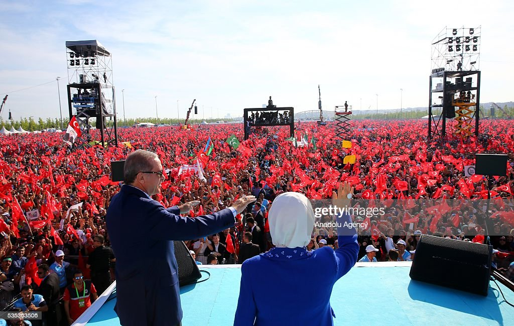 Turkish President Recep Tayyip Erdogan (L) and his wife Emine Erdogan (R) attend the celebrations of the 563rd anniversary of Istanbuls conquest by Turks at Yenikapi Event Area in Istanbul, Turkey on May 29, 2016. On May 29, 1453, Ottoman Sultan Mehmed II (Mehmet the Conqueror) conquered Istanbul, then called Constantinople, from where the Byzantines had ruled the Eastern Roman Empire for more than 1,000 years. The conquest transformed the city, once the heart of the Byzantine realm, into the capital of the new Ottoman Empire.