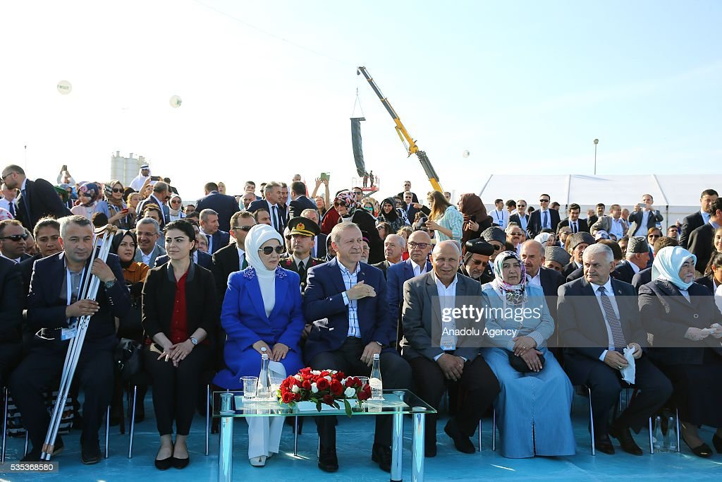 Turkish President Recep Tayyip Erdogan (4th L) and his wife Emine Erdogan (3rd L), Turkish Prime Minister Binali Yildirim (2nd R) and his wife Semiha Yildirim (R) attend the celebrations of the 563rd anniversary of Istanbuls conquest by Turks at Yenikapi Event Area in Istanbul, Turkey on May 29, 2016. On May 29, 1453, Ottoman Sultan Mehmed II (Mehmet the Conqueror) conquered Istanbul, then called Constantinople, from where the Byzantines had ruled the Eastern Roman Empire for more than 1,000 years. The conquest transformed the city, once the heart of the Byzantine realm, into the capital of the new Ottoman Empire.