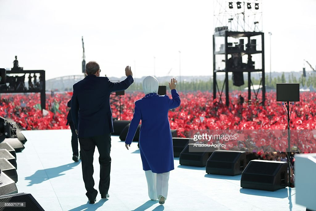 Turkish President Recep Tayyip Erdogan (L) and his wife Emine Erdogan (R) salute the people as they attend the celebrations of the 563rd anniversary of Istanbuls conquest by Turks at Yenikapi Event Area in Istanbul, Turkey on May 29, 2016. On May 29, 1453, Ottoman Sultan Mehmed II (Mehmet the Conqueror) conquered Istanbul, then called Constantinople, from where the Byzantines had ruled the Eastern Roman Empire for more than 1,000 years. The conquest transformed the city, once the heart of the Byzantine realm, into the capital of the new Ottoman Empire.