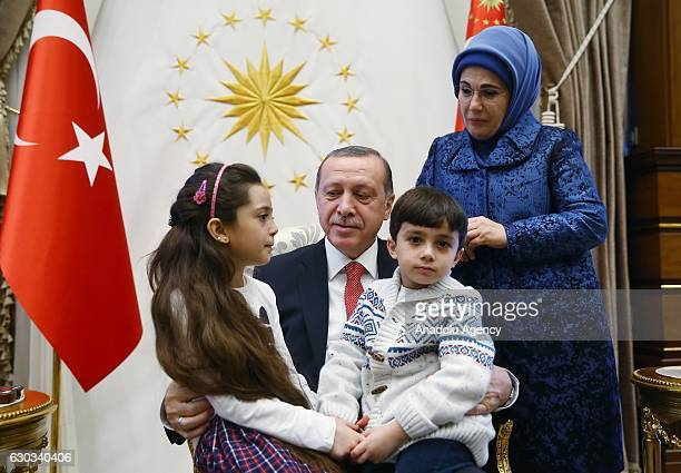 Turkish President Recep Tayyip Erdogan and his wife Emine Erdogan meet Syrian Bana Alabed sevenyearold girl who tweeted on attacks from Aleppo and...