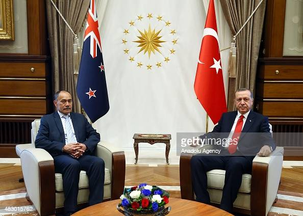 Turkish President Recep Tayyip Erdogan and New Zealand's GovernorGeneral Jerry Mateparae hold a meeting at the Presidential Palace in Ankara Turkey...