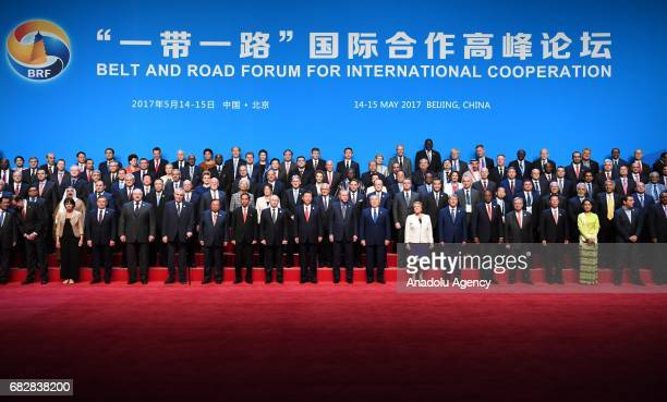 Turkish President Recep Tayyip Erdogan and other leaders pose for a family photos after the opening ceremony of the Belt and Road Forum at the China...