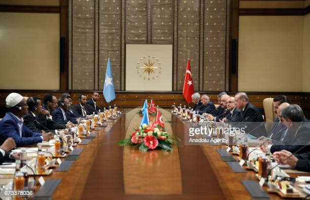 Turkish President Recep Tayyip Erdogan and President of Somalia Mohamed Abdullahi Mohamed hold an interdelegational meeting after their private talks...