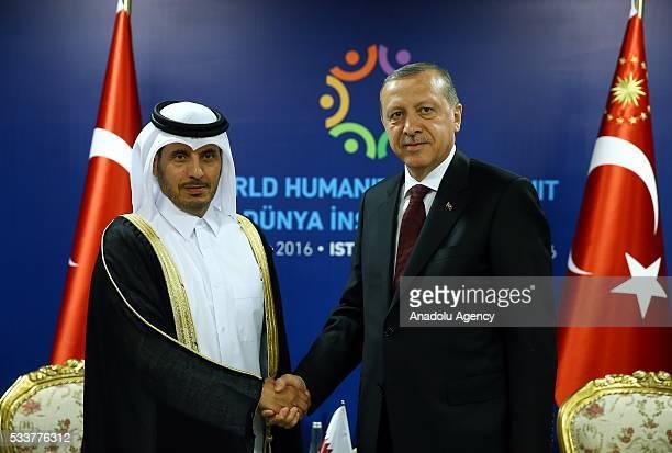 Turkish President Recep Tayyip Erdogan and Prime Minister of Qatar Adbdullah bin Nasser bin Khalifa Al Thani hold a bilateral meeting organized...