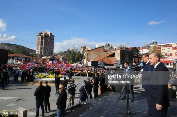 Turkish President Recep Tayyip Erdogan and Serbian President Aleksandar Vucic make a speech as part of Erdogan's visit in Novi Pazar Serbia on...
