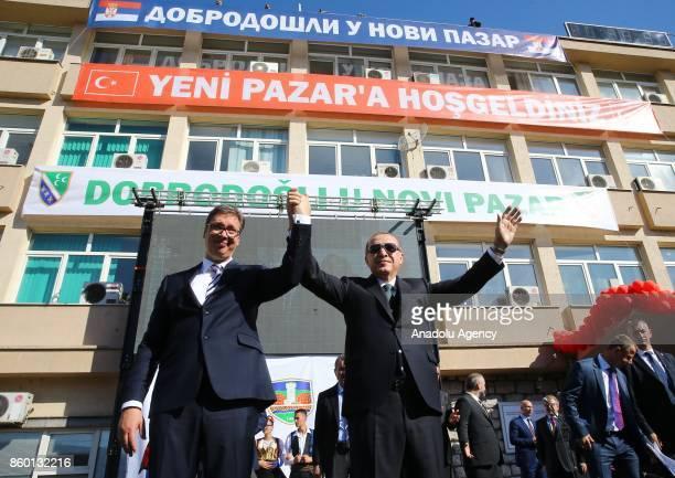 Turkish President Recep Tayyip Erdogan and Serbian President Aleksandar Vucic greets people together after making their speech in Novi Pazar Serbia...