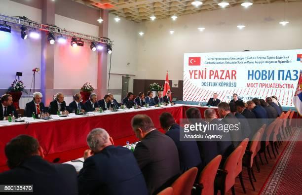 Turkish President Recep Tayyip Erdogan and Serbian President Aleksandar Vucic attend 'Novi Pazar Friendship Bridge' meeting with a Mayors of Sanjak...