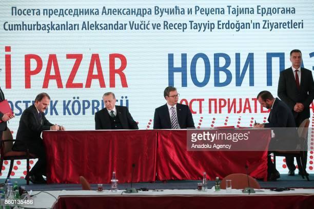Turkish President Recep Tayyip Erdogan and Serbian President Aleksandar Vucic attend the signing ceremony of 'Novi Pazar Friendship Bridge' meeting...