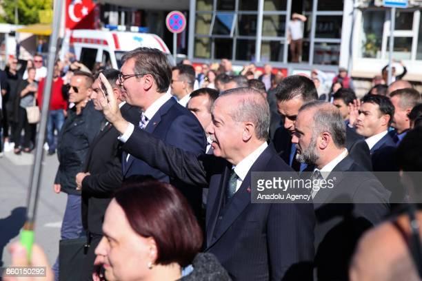 Turkish President Recep Tayyip Erdogan and Serbian President Aleksandar Vucic visit southern Muslimmajority city of Novi Pazar Serbia on October 11...