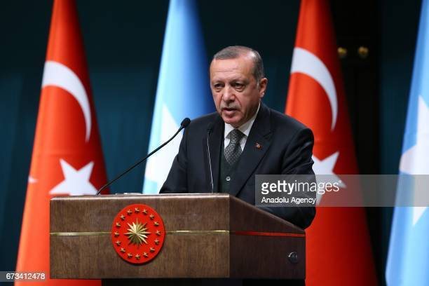Turkish President Recep Tayyip Erdogan and Somalian President Mohamed Abdullahi Mohamed hold a press conference after their meeting at Presidential...