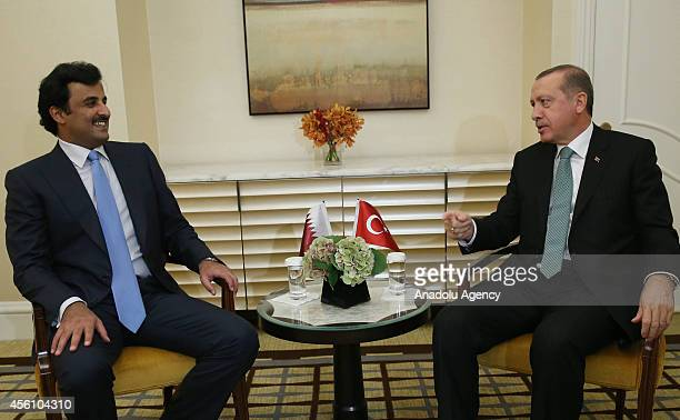 Turkish President Recep Tayyip Erdogan and the Emir of Qatar Sheikh Tamim Bin Hamad alThani hold a bilateral meeting in New York United States on...