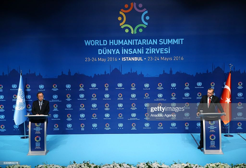 Turkish President Recep Tayyip Erdogan (R) and United Nations (UN) Secretary General Ban Ki-moon (L) hold a joint press conference on the second day of World Humanitarian Summit at Harbiye Muhsin Ertugrul Stage in Istanbul, Turkey on May 24, 2016.