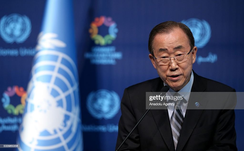 Turkish President Recep Tayyip Erdogan (not seen) and United Nations (UN) Secretary General Ban Ki-moon (C) hold a joint press conference on the second day of World Humanitarian Summit at Harbiye Muhsin Ertugrul Stage in Istanbul, Turkey on May 24, 2016.