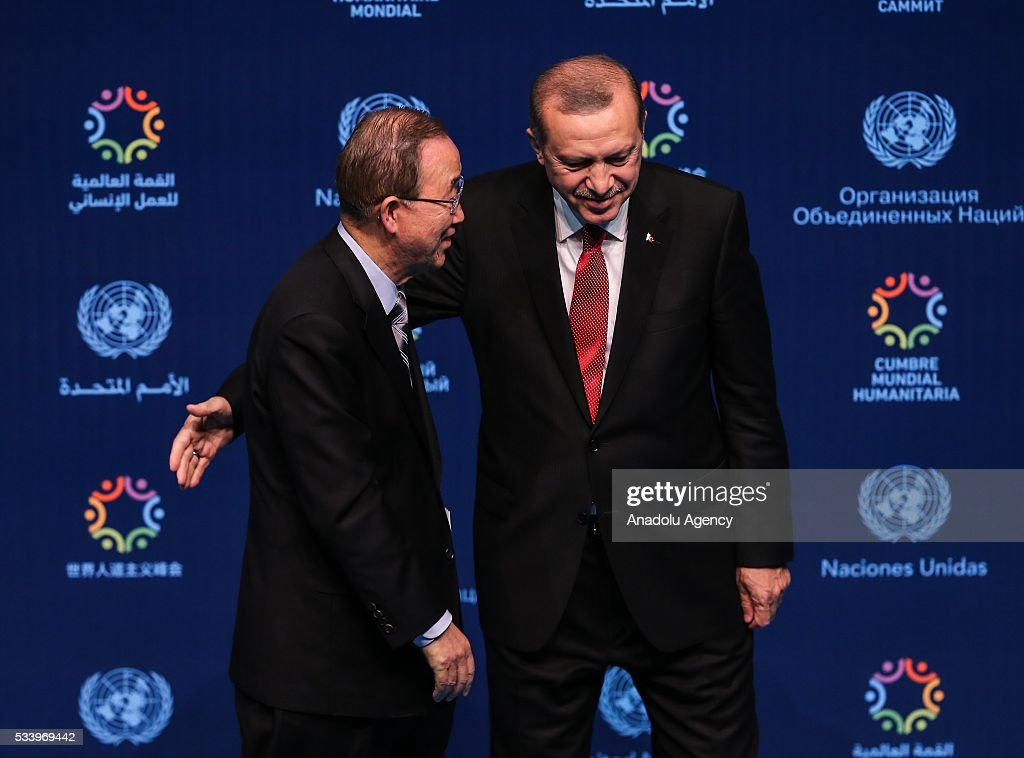 Turkish President Recep Tayyip Erdogan (R) and United Nations (UN) Secretary General Ban Ki-moon (L) gestures after they held a joint press conference on the second day of World Humanitarian Summit at Harbiye Muhsin Ertugrul Stage in Istanbul, Turkey on May 24, 2016.