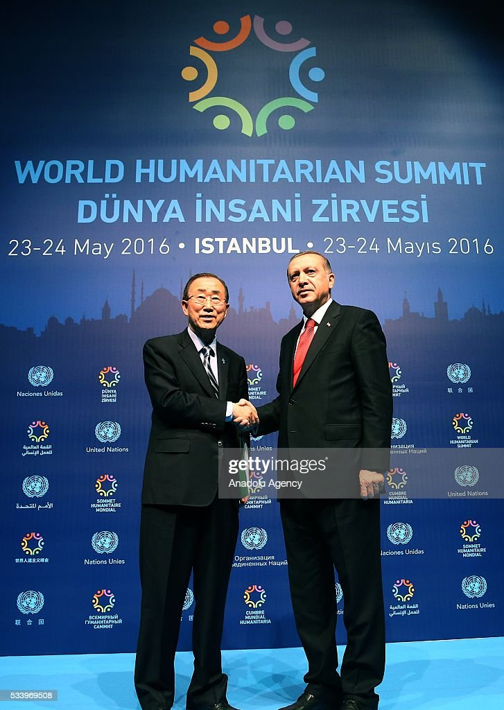 Turkish President Recep Tayyip Erdogan (R) and United Nations (UN) Secretary General Ban Ki-moon (L) shake hands after they held a joint press conference on the second day of World Humanitarian Summit at Harbiye Muhsin Ertugrul Stage in Istanbul, Turkey on May 24, 2016