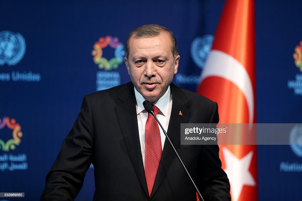Turkish President Recep Tayyip Erdogan (C) and United Nations (UN) Secretary General Ban Ki-moon (not seen) hold a joint press conference on the second day of World Humanitarian Summit at Harbiye Muhsin Ertugrul Stage in Istanbul, Turkey on May 24, 2016.
