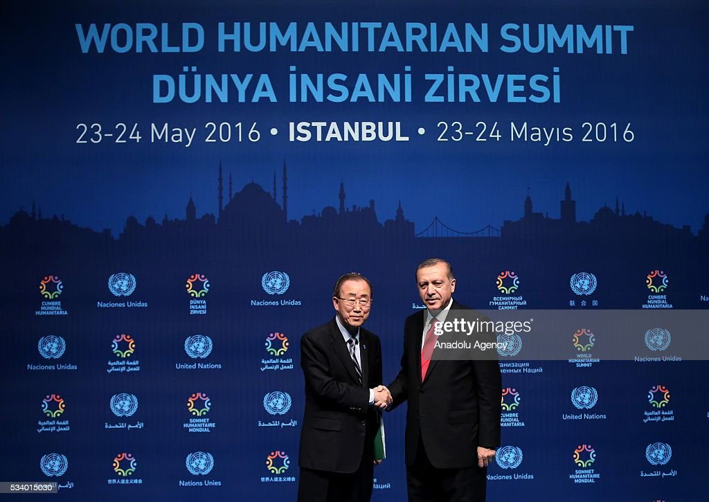Turkish President Recep Tayyip Erdogan (R) and United Nations (UN) Secretary General Ban Ki-moon (L) shake hands after they held a joint press conference on the second day of World Humanitarian Summit at Harbiye Muhsin Ertugrul Stage in Istanbul, Turkey on May 24, 2016.