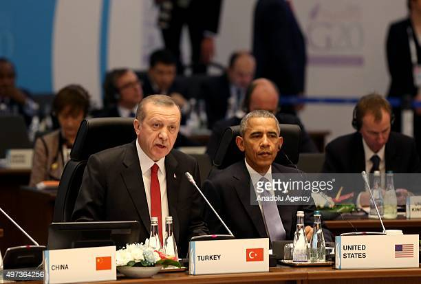 Turkish President Recep Tayyip Erdogan and US President Barack Obama attend the Working session1 'Inclusive Growth Global Economy Growth Stragies...
