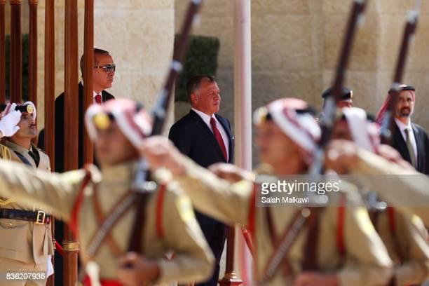 Turkish president Recep Tayyip Erdogan arrives for talks with Jordan's King Abdullah II at the alHusseineyah royal palace on August 21 2017 in Amman...