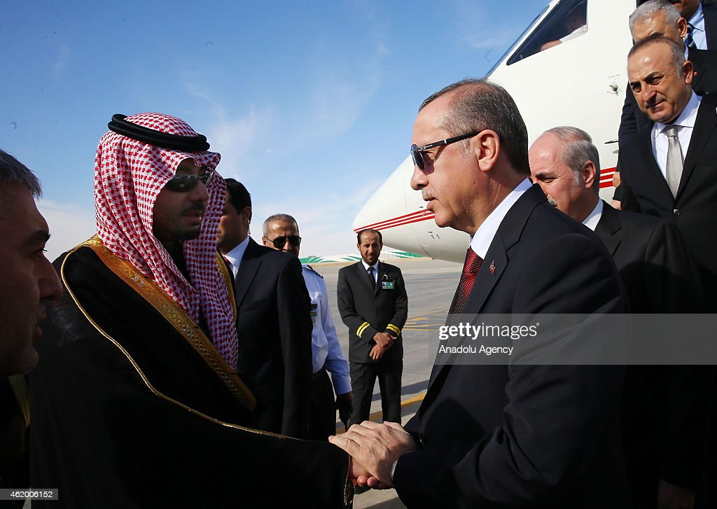 Turkish President Recep Tayyip Erdogan arrives in Riyadh to attend the funeral ceremony of Saudi monarch, King Abdullah bin Abdulaziz on January 23, 2015, in Saudi Arabia.