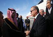 Turkish President Recep Tayyip Erdogan arrives in Riyadh to attend the funeral ceremony of Saudi monarch King Abdullah bin Abdulaziz on January 23 in...
