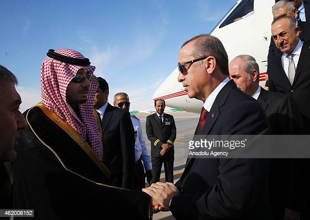 Turkish President Recep Tayyip Erdogan arrives in Riyadh to attend the funeral ceremony of Saudi monarch King Abdullah bin Abdulaziz on January 23 in...
