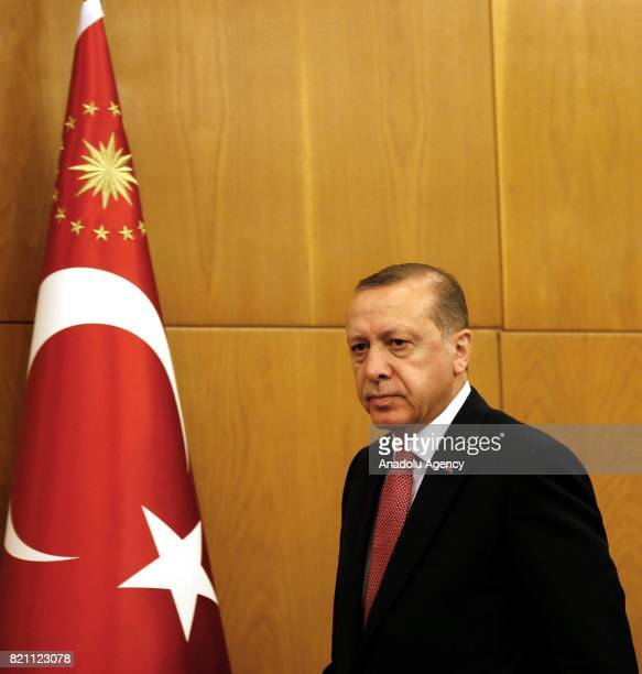 Turkish President Recep Tayyip Erdogan arrives to hold a press conference ahead of his departure for Saudi Arabia at the Ataturk International...