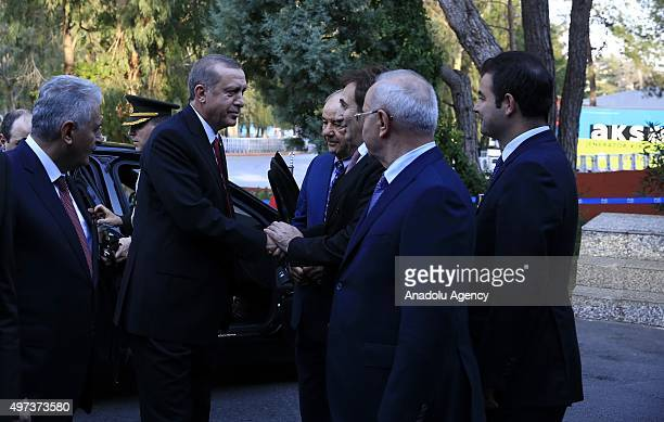 Turkish President Recep Tayyip Erdogan arrives to hold a press conference on day two of the G20 Turkey Leaders Summit on November 16 2015 in Antalya...