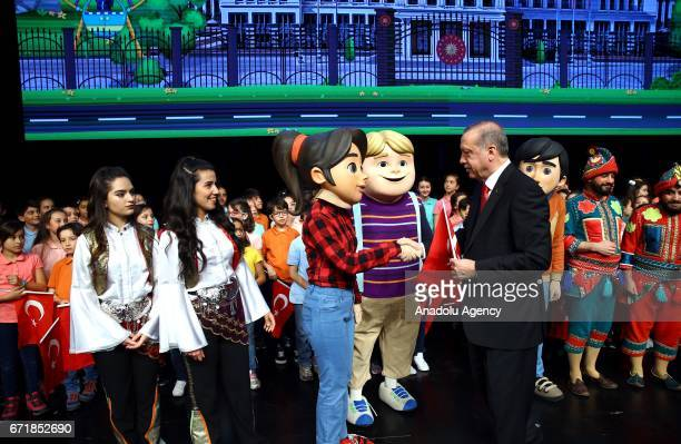 Turkish President Recep Tayyip Erdogan attends a ceremony at Bestepe People's Culture and Congress Center as part of the National Sovereignty and...