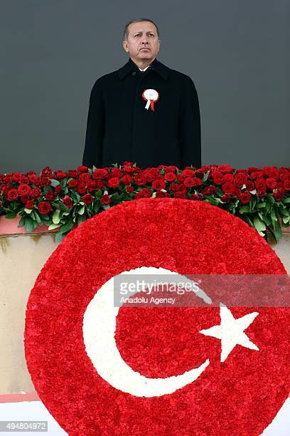 Turkish President Recep Tayyip Erdogan attends a ceremony marking the 92nd anniversary of Republic Day on October 29 2015 at the Ataturk Cultural...