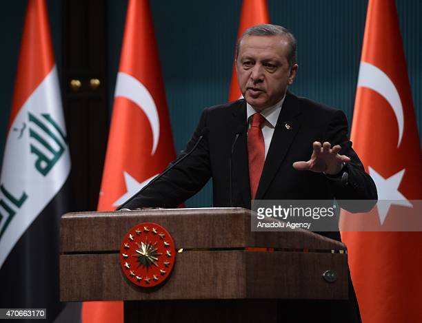 Turkish President Recep Tayyip Erdogan attends a press conference with President of Iraq Fuad Masum in Ankara Turkey on April 22 2015