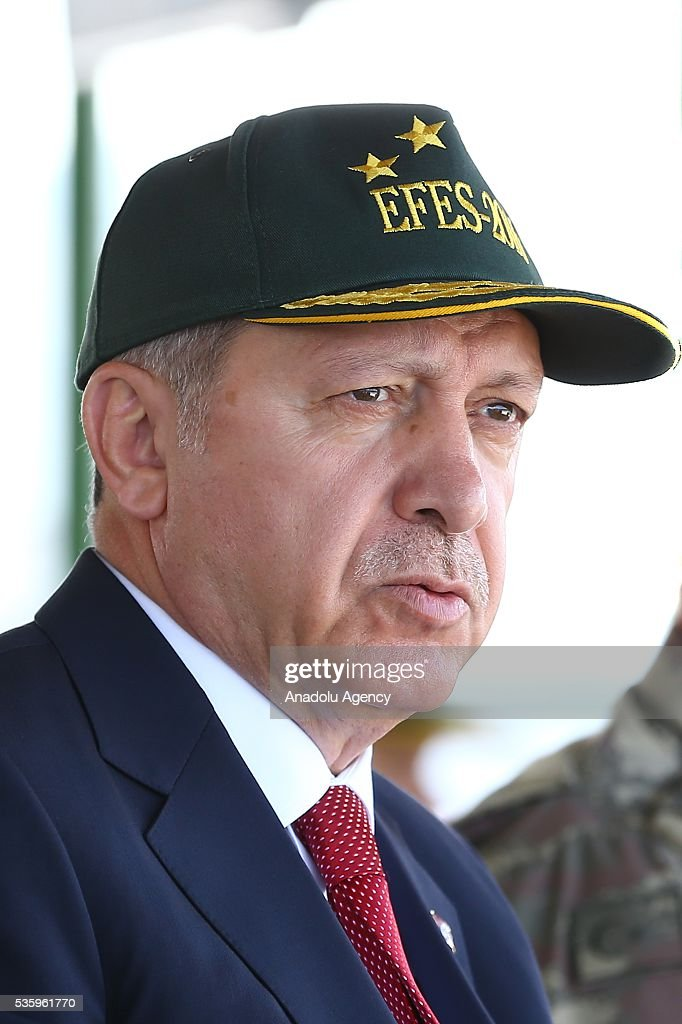 Turkish President Recep Tayyip Erdogan attends the Efes-2016 Combined Joint Live Fire Exercise at Seferihisar district of Izmir, Turkey on May 31, 2016. The Turkish-led multinational military exercises, Efes-2016 which started at 04 May and will be finished at 04 June 2016, aims to train participating units and staff in planning and conducting combined and joint operations, including logistics and command-control as well as to improve the level of interoperability among headquarters and forces.