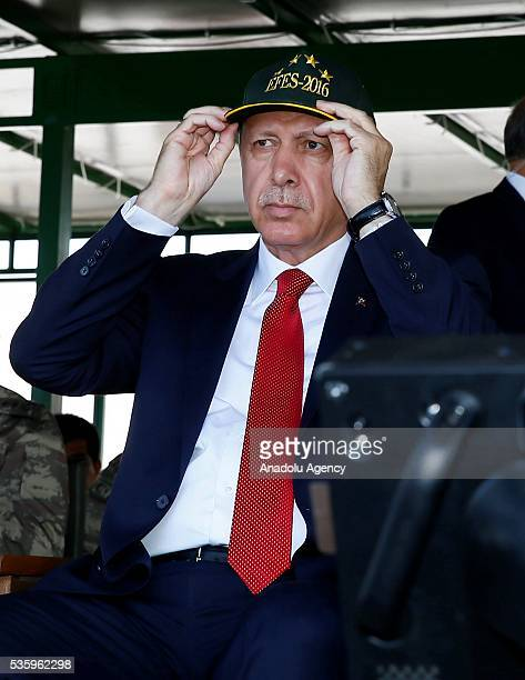 Turkish President Recep Tayyip Erdogan attends the Efes2016 Combined Joint Live Fire Exercise at Seferihisar district of Izmir Turkey on May 31 2016...