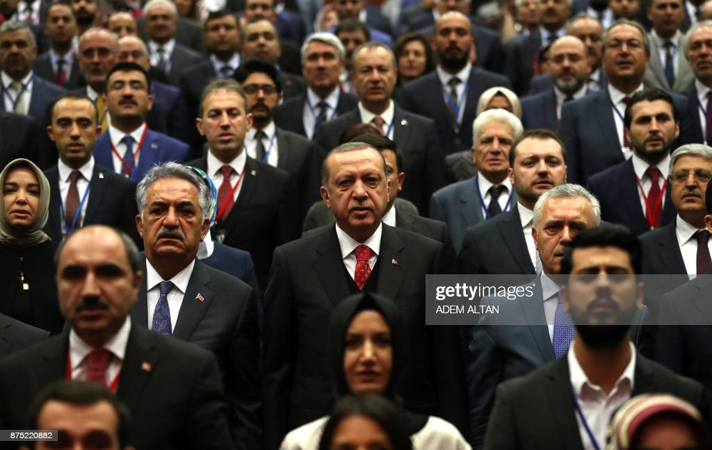 Turkish President Recep Tayyip Erdogan attends an AKP provincial heads meeting in Ankara