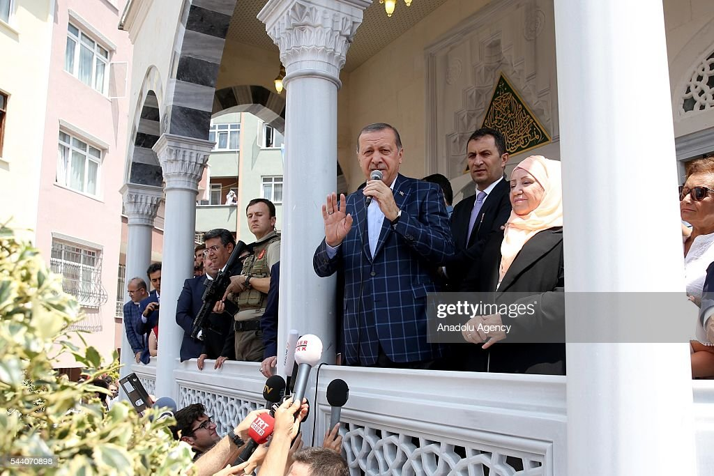 Turkish President Recep Tayyip Erdogan attends the opening ceremony of Fethiye Hasan Gumusdag Mosque in Istanbul, Turkey on July 1, 2016.