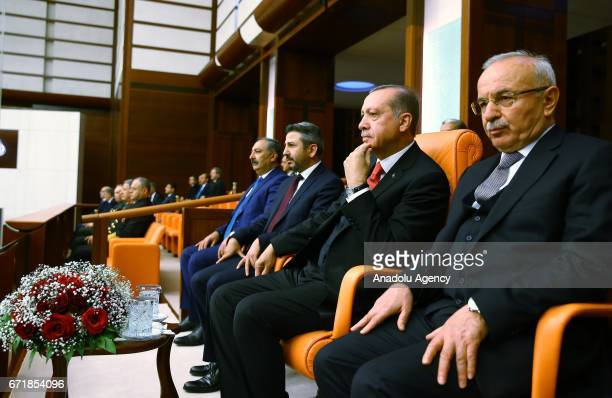 Turkish President Recep Tayyip Erdogan attends the special session at TBMM as part of the 97th anniversary of foundation of Grand National Assembly...