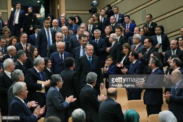 Turkish President Recep Tayyip Erdogan attends Turkish Academy of Science TUBA awards at Presidential complex in Ankara Turkey on December 12 2017