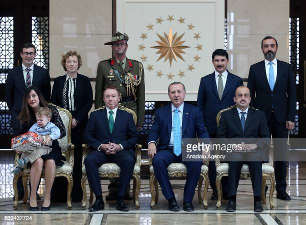 Turkish President Recep Tayyip Erdogan Australian Ambassador to Ankara Marc Innes Brown and other officials pose for a photo after receiving his...