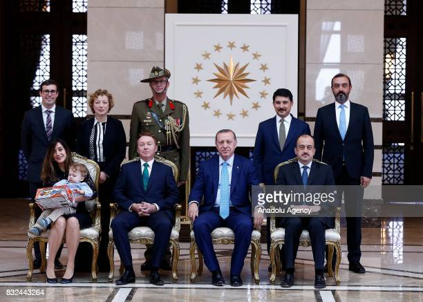 Turkish President Recep Tayyip Erdogan Australian Ambassador to Ankara Marc Innes Brown and other officials pose for a photo after Marc Innes Brown...