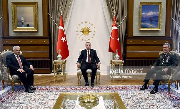Turkish President Recep Tayyip Erdogan chairs a meeting of the National Security Council at the Presidential Palace in Ankara Turkey on May 26 2016