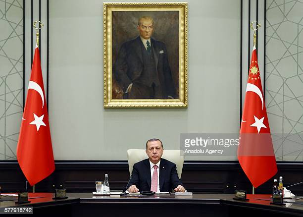 Turkish President Recep Tayyip Erdogan chairs a meeting of the National Security Council at the Presidential Palace in Ankara Turkey on July 20 2016