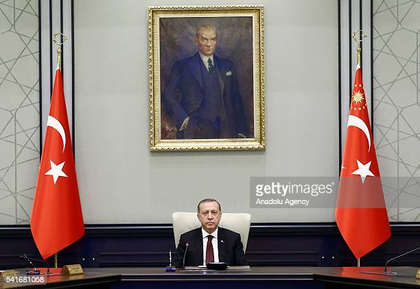 Turkish President Recep Tayyip Erdogan chairs the Cabinet meeting at the presidential complex in Ankara Turkey on June 20 2016