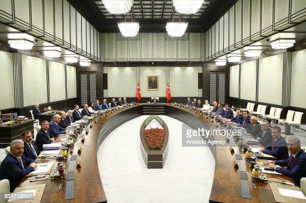 Turkish President Recep Tayyip Erdogan chairs the Cabinet meeting at Presidential Complex in Ankara Turkey on August 15 2017