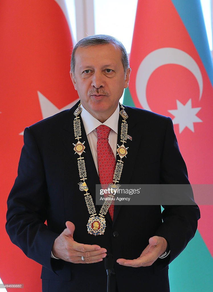 Turkish President Recep Tayyip Erdogan delivers a speech after being honored with Heydar Aliyev Order in the capital city Baku, Azerbiajan on September 3, 2014.