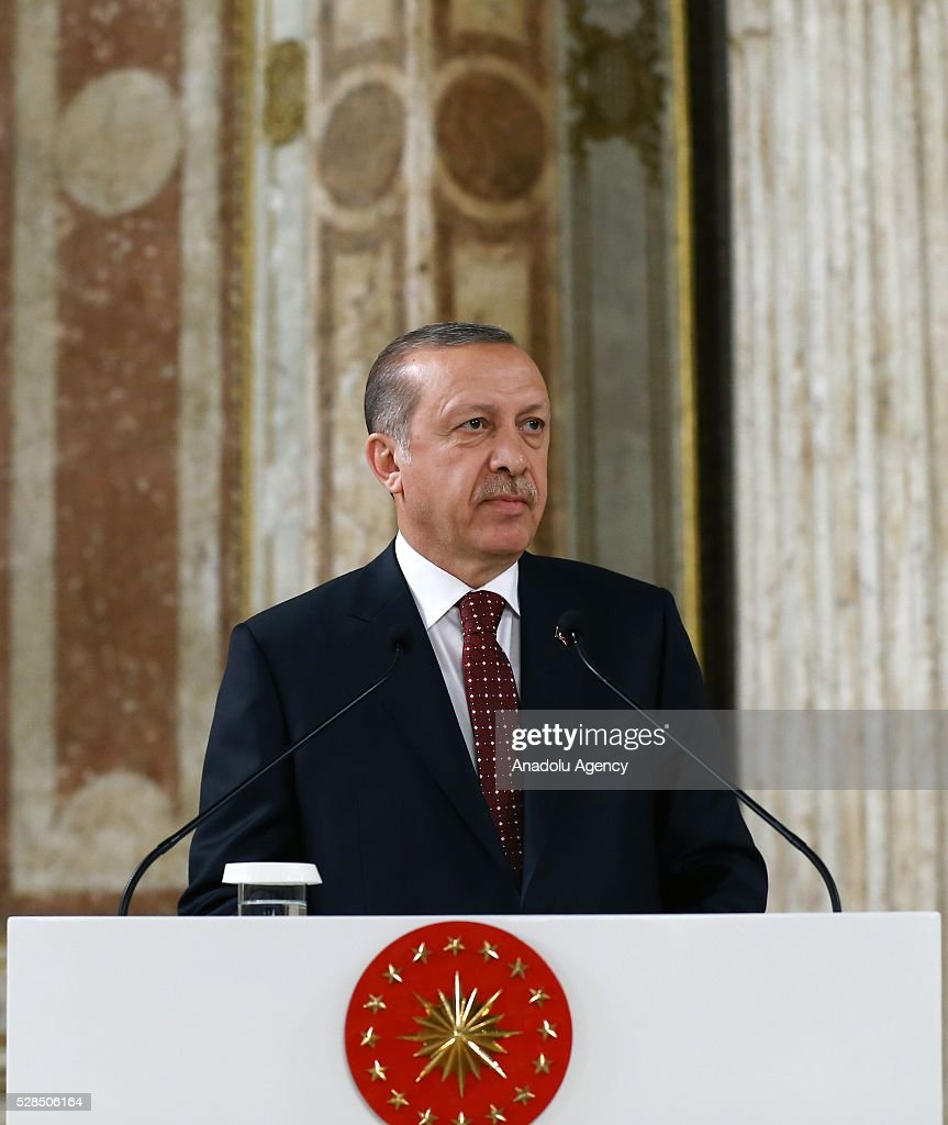 Turkish President Recep Tayyip Erdogan delivers a speech as he attends a dinner at Dolmabahce Palace as part of Congress of International Association of Supreme Administrative Jurisdictions in Istanbul, Turkey on May 5, 2016.