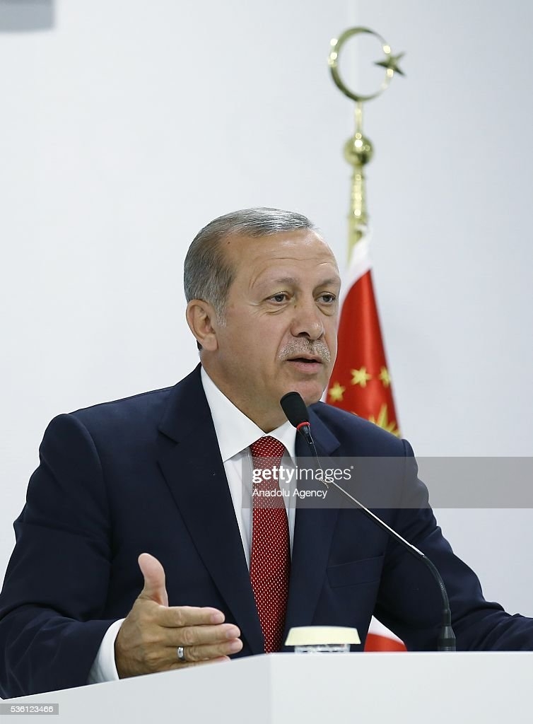 Turkish President Recep Tayyip Erdogan delivers a speech during a press conference at the Izmir Adnan Menderes Airport in Izmir, Turkey on May 31, 2016 before his visit to Uganda.