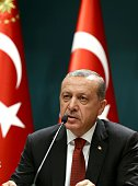 Turkish President Recep Tayyip Erdogan delivers a speech during a press conference at the Presidential Complex in Ankara Turkey on July 22 2016...