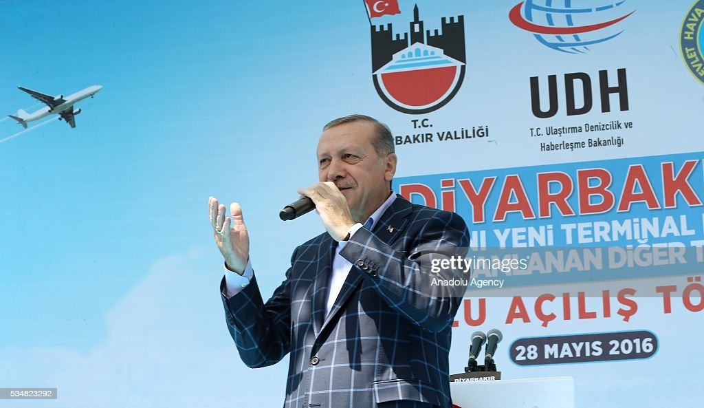 Turkish President Recep Tayyip Erdogan delivers a speech during an opening ceremony in Diyarbakir, Turkey on May 28, 2016.